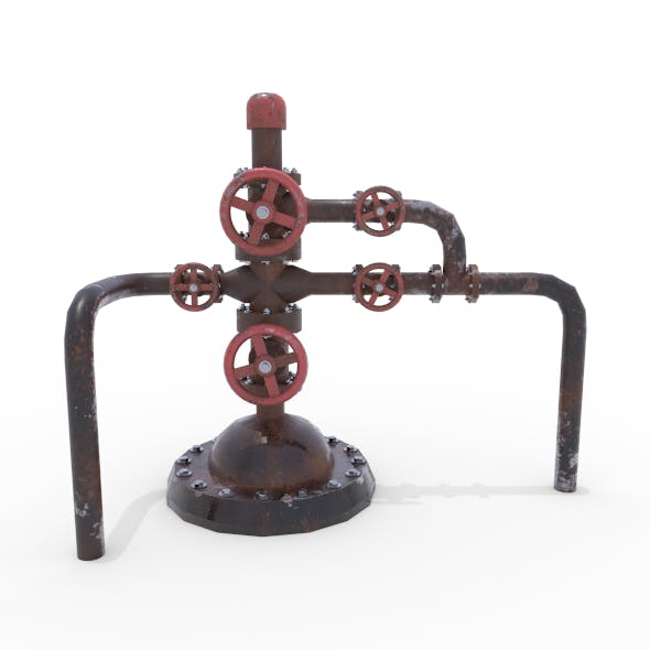 Oil Pumpjack Wellhead Weathered 2 - 3DOcean Item for Sale
