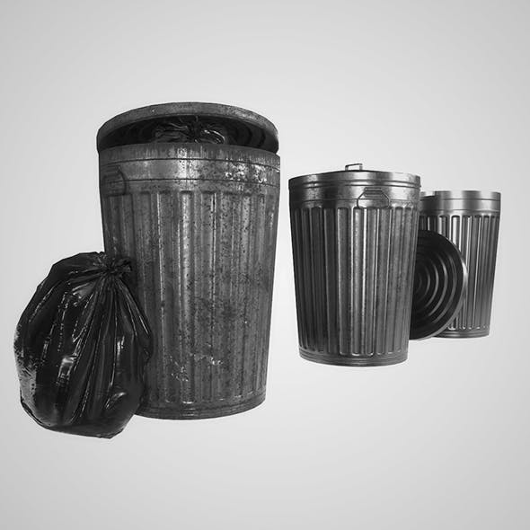 Metal Trash Can with Garbage Bags