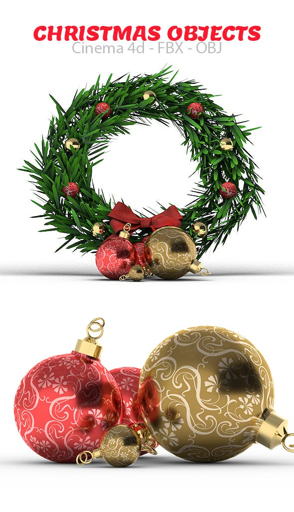 Christmas Objects 3D Models - 3DOcean Item for Sale