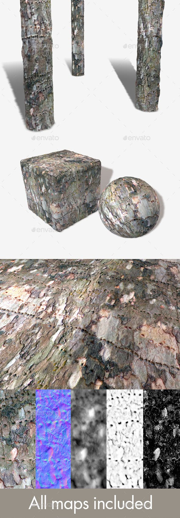 Insect Marked Bark Seamless Texture - 3DOcean Item for Sale