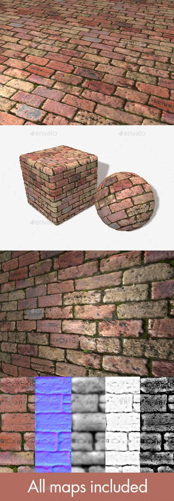 Old Rough Mossy Bricks Seamless Texture - 3DOcean Item for Sale