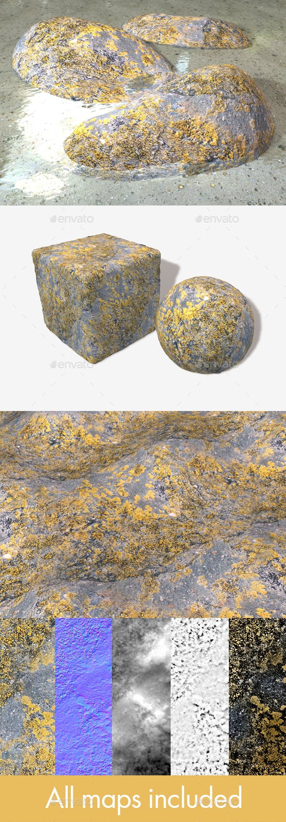 Mossy Rock Seamless Texture - 3DOcean Item for Sale