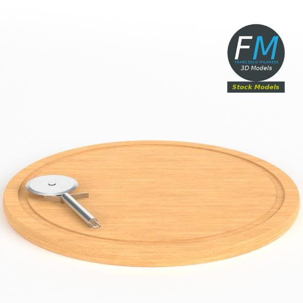 Pizza cutter on cutting board - 3DOcean Item for Sale