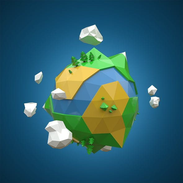 Low Poly Planet Earth - 3DOcean Item for Sale