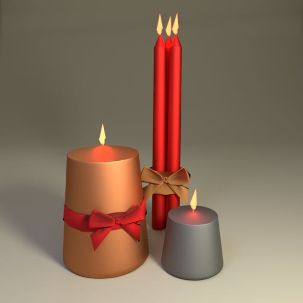 Christmas candle set - 3DOcean Item for Sale