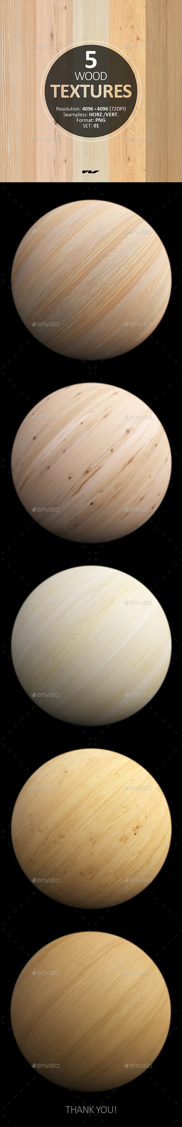 5 Wood Textures 4096x4096 / 72dpi / PNG. Set 01 - 3DOcean Item for Sale
