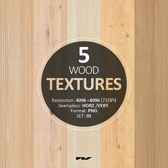 5 Wood Textures 4096x4096 / 72dpi / PNG. Set 01