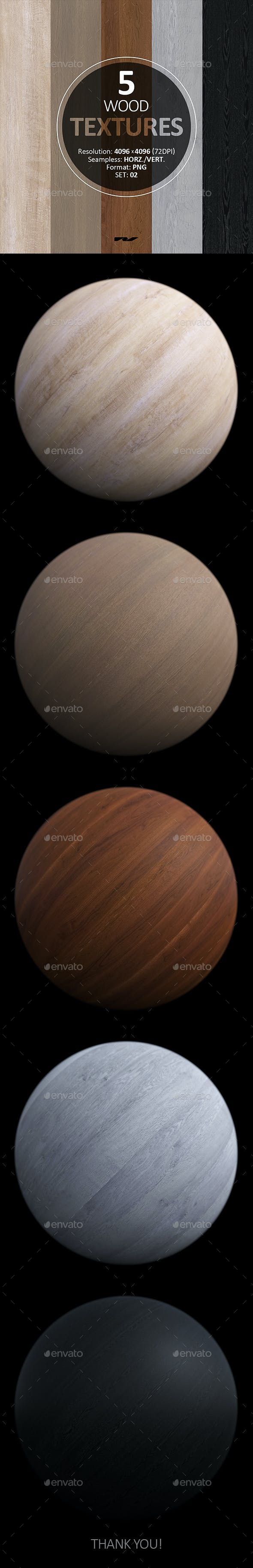5 Wood Textures 4096x4096 / 72dpi / PNG. Set 02 - 3DOcean Item for Sale