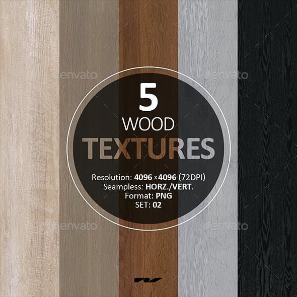 5 Wood Textures 4096x4096 / 72dpi / PNG. Set 02