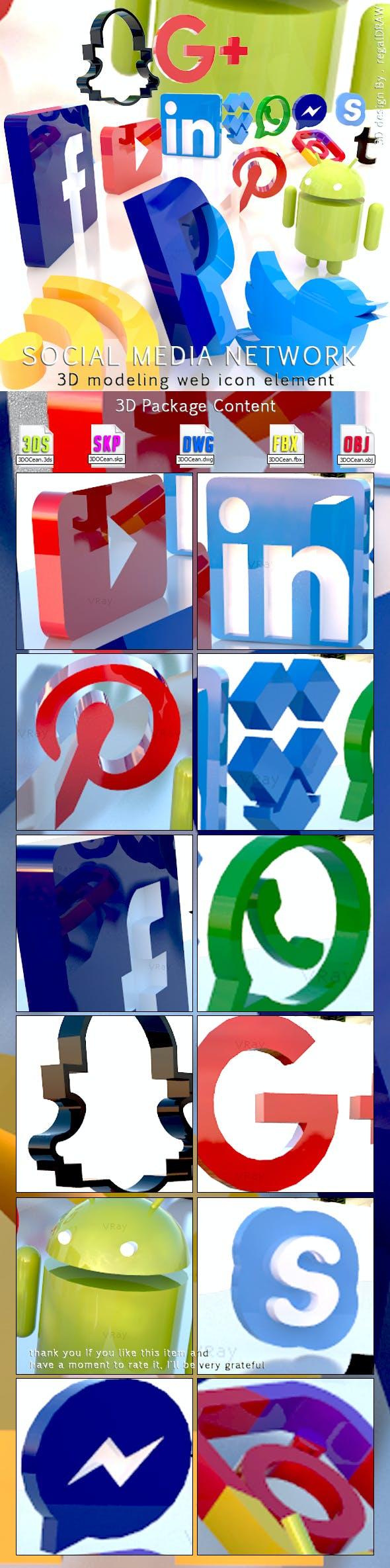 Social Media Network 3D Modeling Web icon Element - 3DOcean Item for Sale