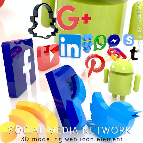Social Media Network 3D Modeling Web icon Element