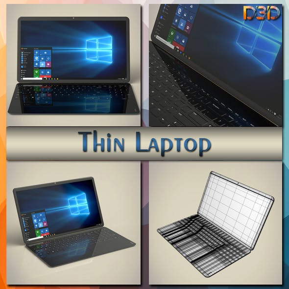 Thin Laptop - 3DOcean Item for Sale