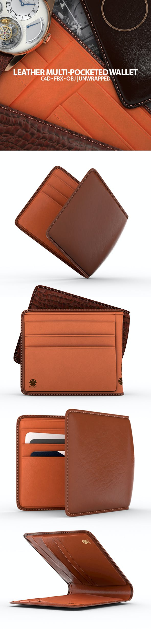 Leather Wallet 3D Model - 3DOcean Item for Sale