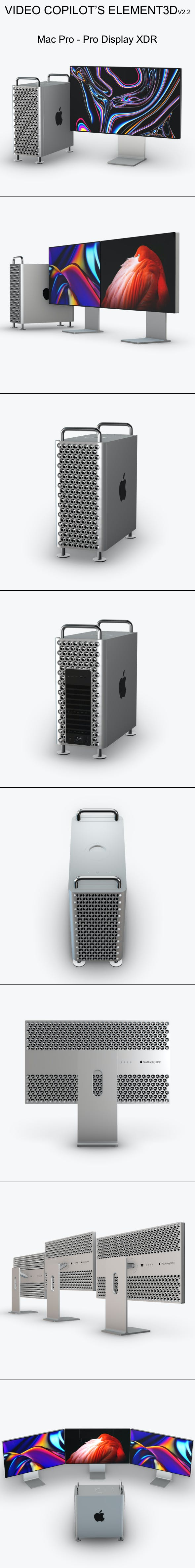 Element3D - Mac Pro - Pro Display XDR - 3DOcean Item for Sale