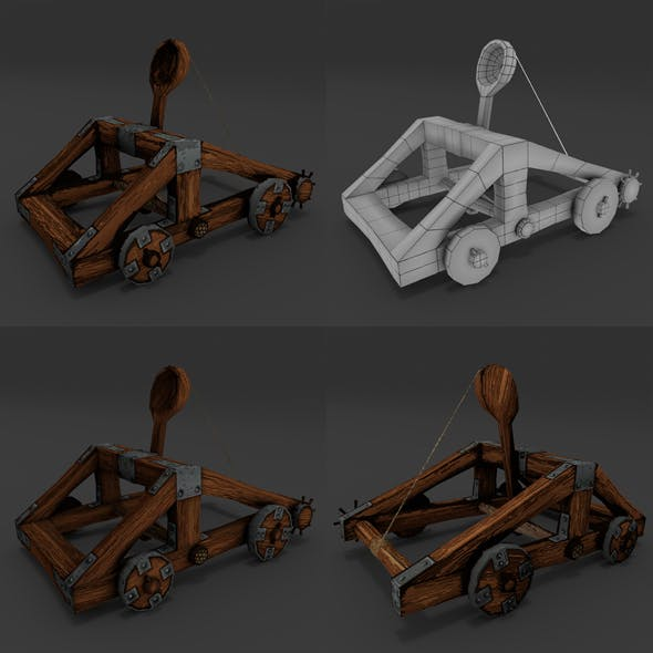 Catapult rigged Animation Low-Poly