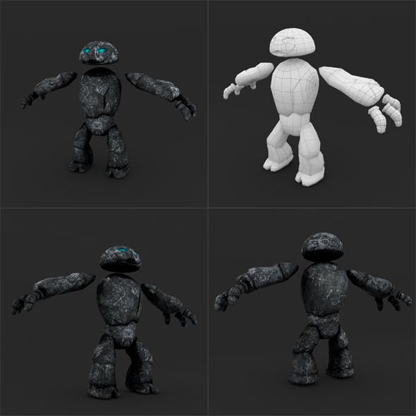 Stone Golem LowPoly Rigged Animation - 3DOcean Item for Sale