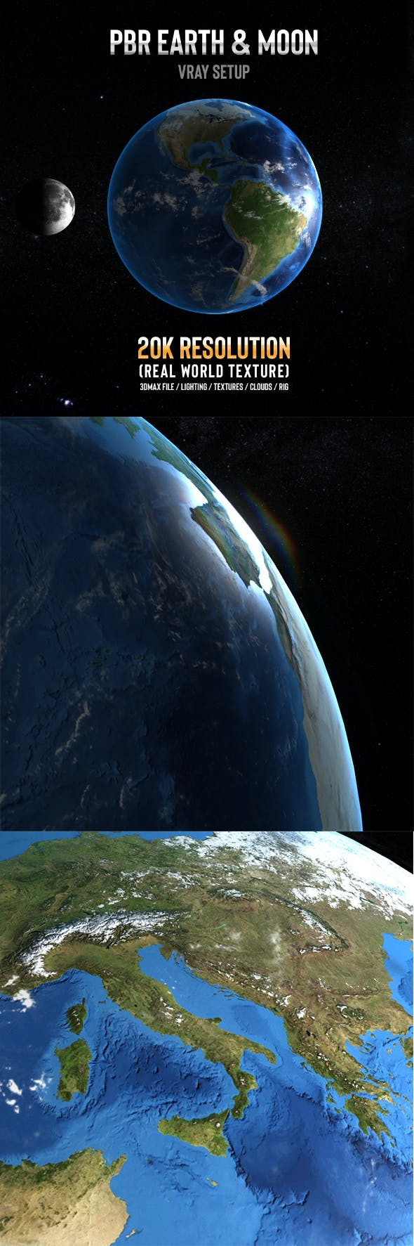Earth and Moon 3D Vray - 3DOcean Item for Sale