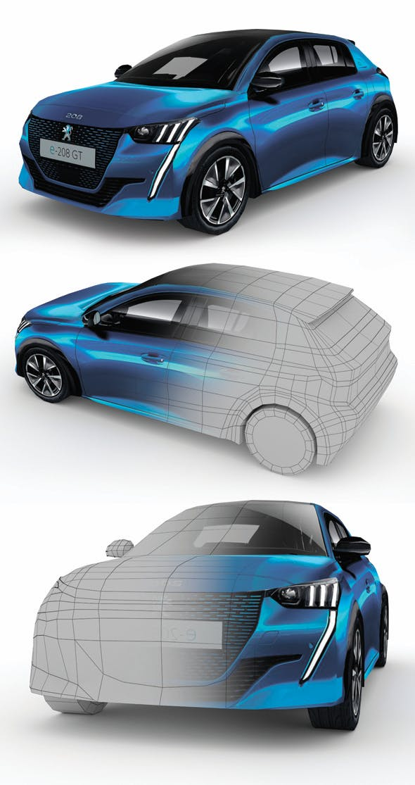 Low Poly Peugeot 2020 e-208 - 3DOcean Item for Sale