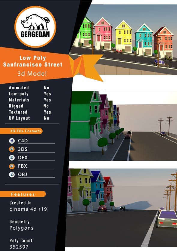 Low Poly San Francisco Street - 3DOcean Item for Sale