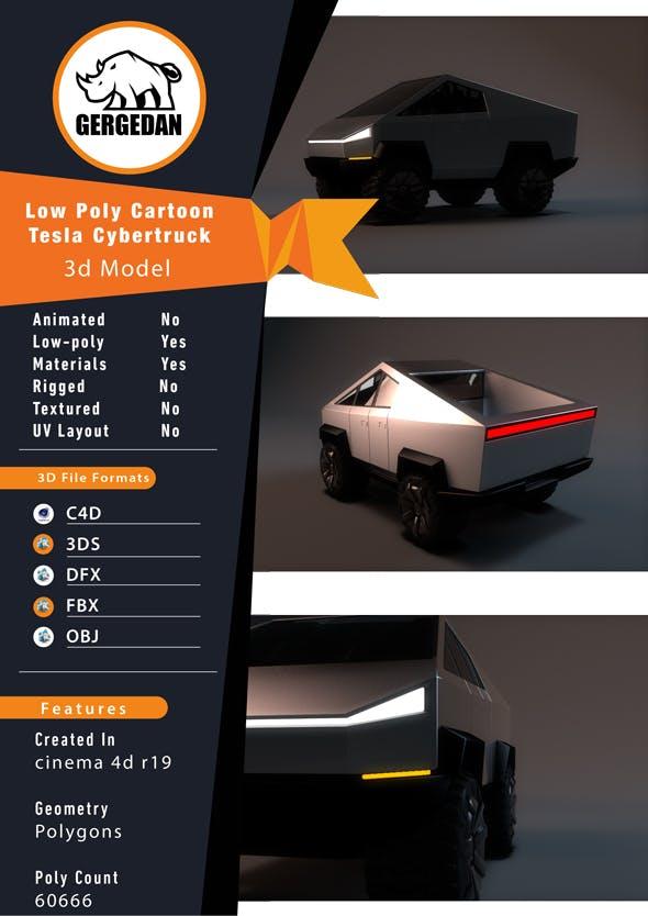 Tesla Cybertruck Cartoon Low Poly - 3DOcean Item for Sale