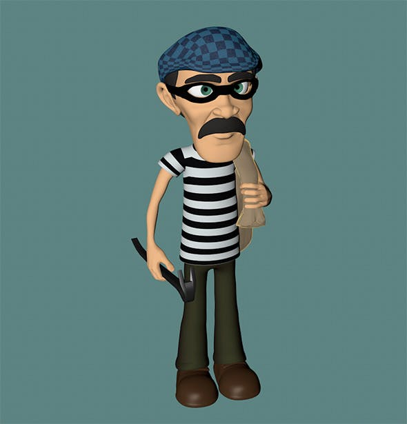 Cartoon Burglar - 3DOcean Item for Sale