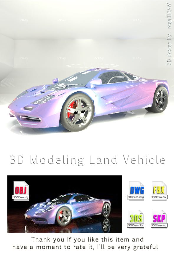 Land Vehicle 3D Modeling - 3DOcean Item for Sale