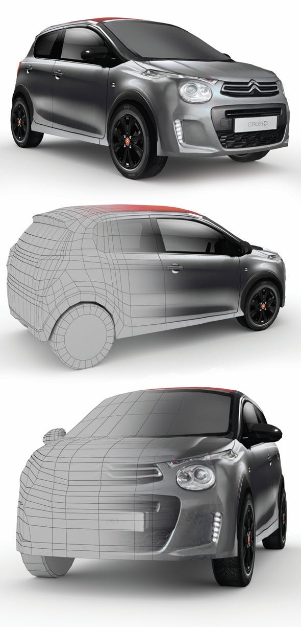 Low poly Citroen C1 Urban Ride - 3DOcean Item for Sale
