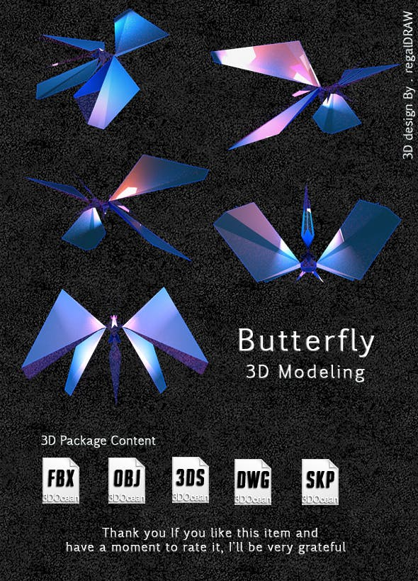 3D Butterfly Low poly - 3DOcean Item for Sale