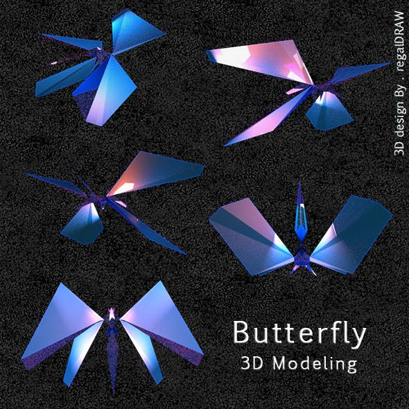 3D Butterfly Low poly
