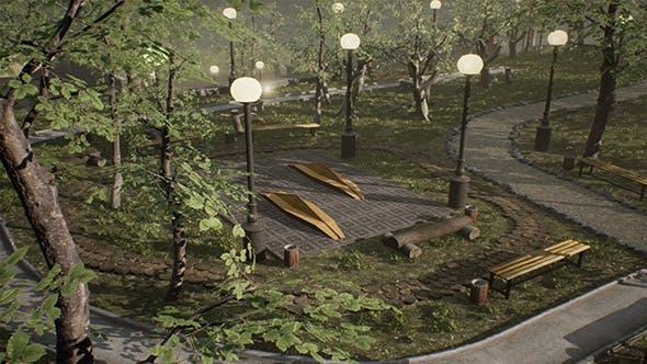 Photoscanned Modular Model of City Park - 3DOcean Item for Sale