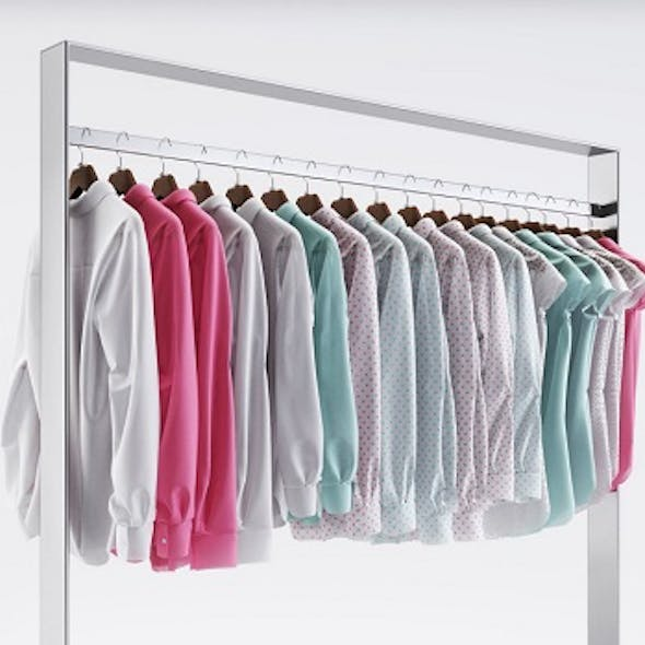 Racks with wardrobe (shirts)