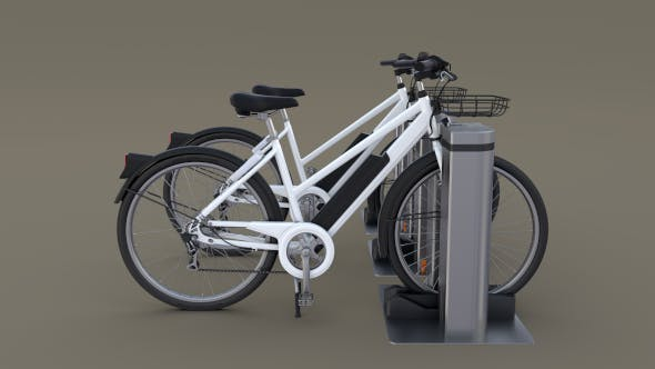 Electric Bicycle and Station - 3DOcean Item for Sale