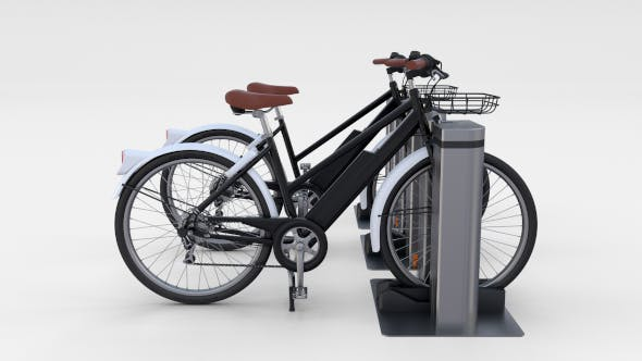 Electric Bicycle and Station Black - 3DOcean Item for Sale