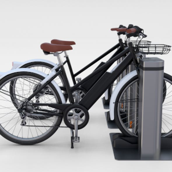 Electric Bicycle and Station Black