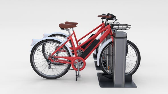 Electric Bicycle and Station Red - 3DOcean Item for Sale
