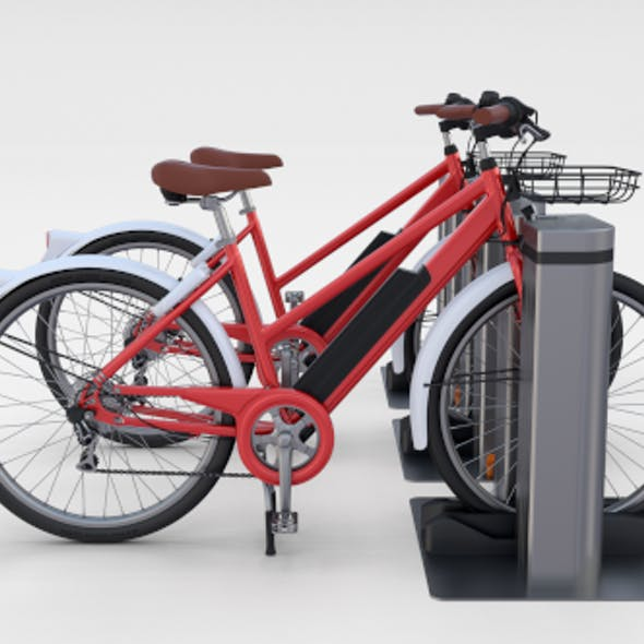 Electric Bicycle and Station Red