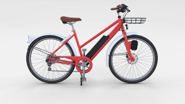 Electric Bicycle Red - 3DOcean Item for Sale