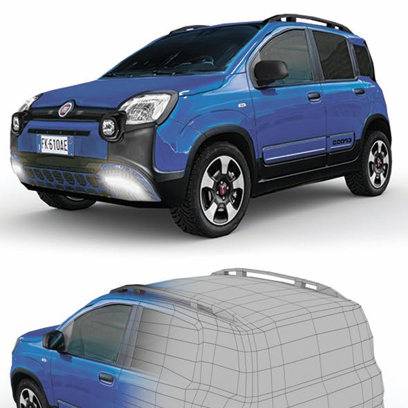 Low Poly Fiat Panda City Cross 2017