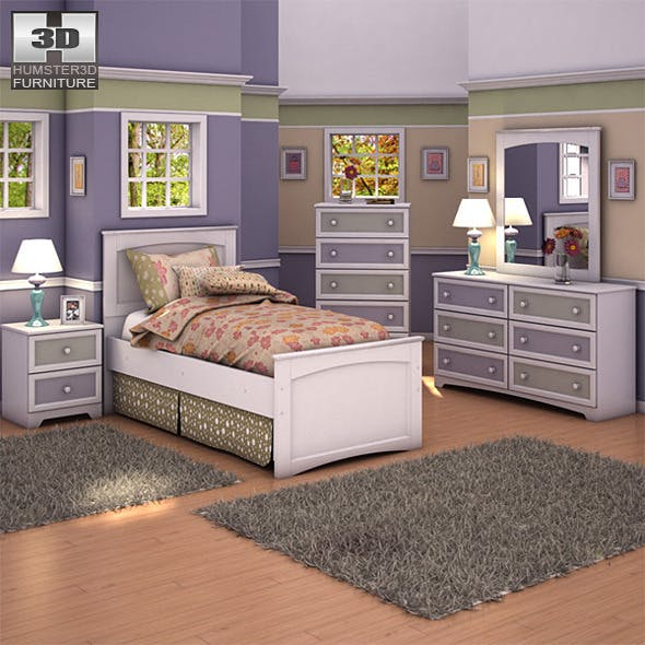 Ashley Sandhill Panel Bedroom Set - 3DOcean Item for Sale