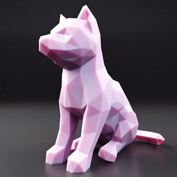 Husky Puppy Low Poly 1