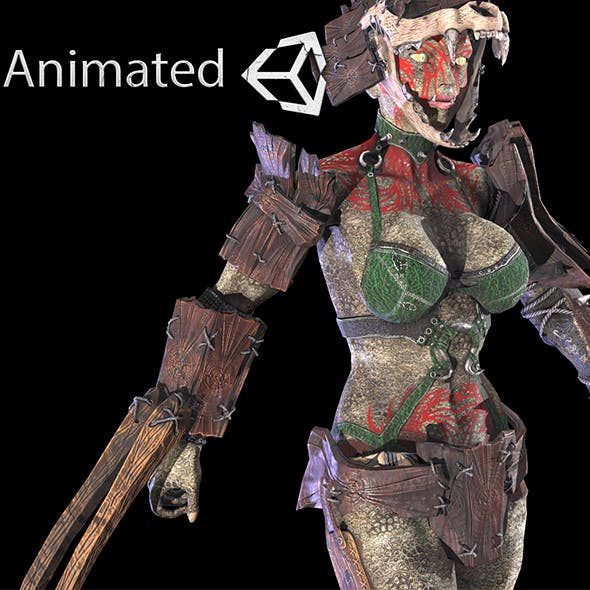 Orc woman in Wood - 3DOcean Item for Sale