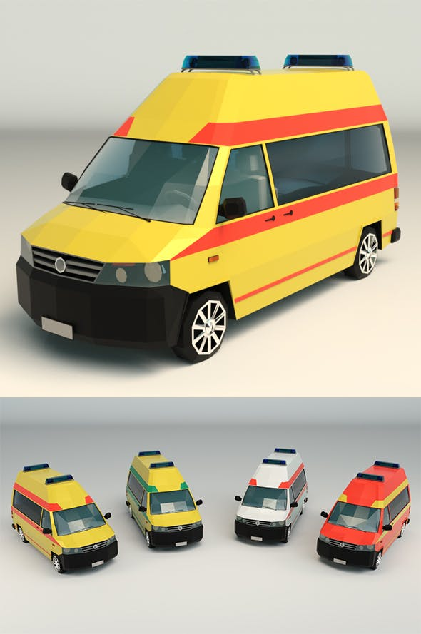 Low Poly Ambulance 03 - 3DOcean Item for Sale