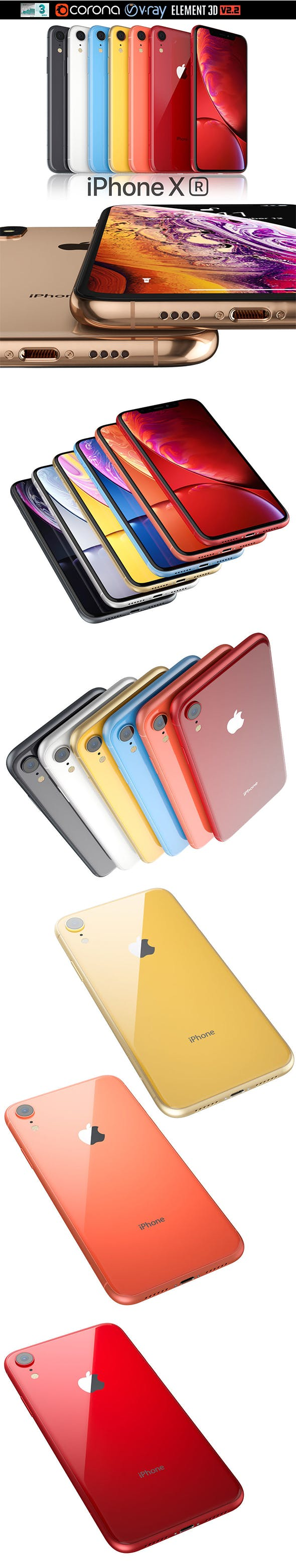 iPhone Xr ALL colors. - 3DOcean Item for Sale