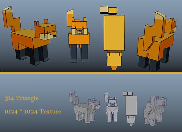 Low Poly Cartoon Fox - 3DOcean Item for Sale