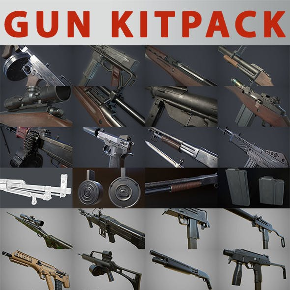 26x High-Poly Weapons Pack 3D Model Collection
