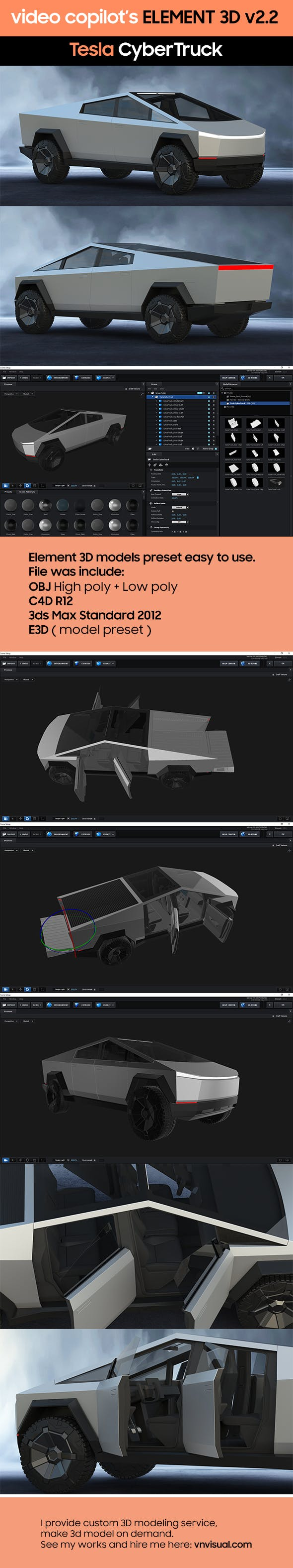 Element3D - Tesla CyberTruck - 3DOcean Item for Sale