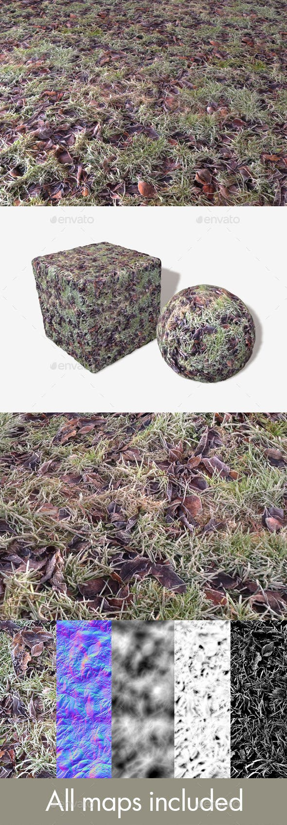 Icy Grass and Leaves Seamless Texture - 3DOcean Item for Sale