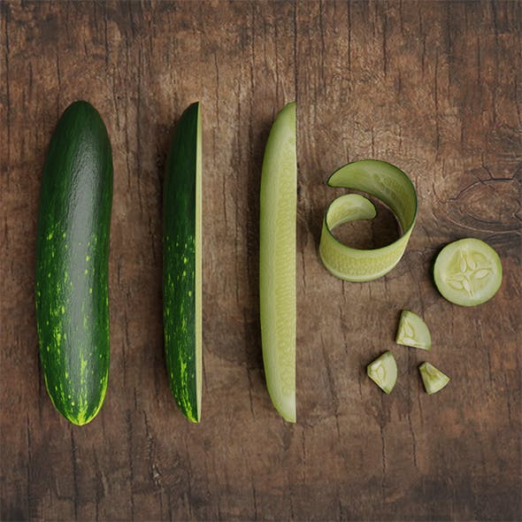 Low Poly photorealistic cucumber