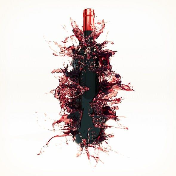 Wine Splash Bottle 1 - 3DOcean Item for Sale