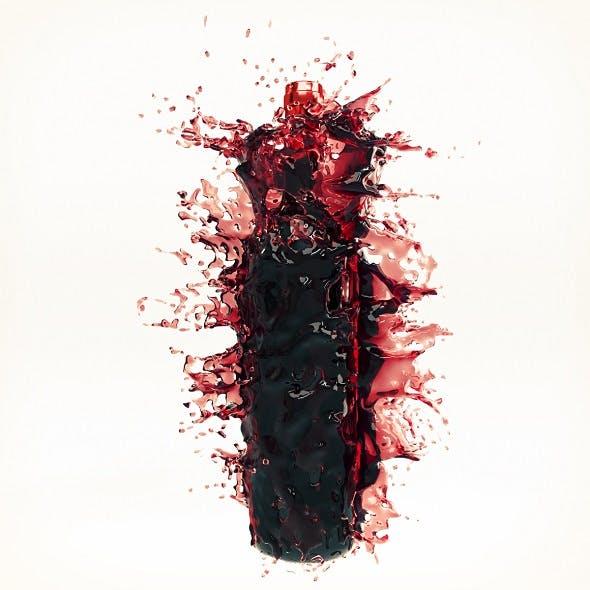 Wine Splash Bottle 2 - 3DOcean Item for Sale